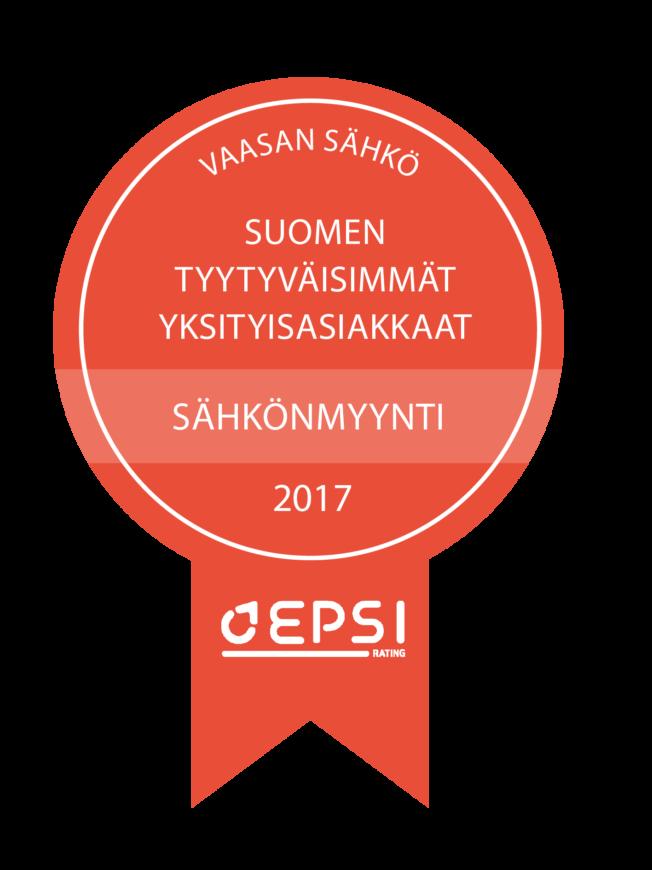 Vaasan Sähkö saavutti ykkössijan vuoden 2017 EPSI Rating Finlandin Sähkön vähittäismyynti -tutkimuksessa